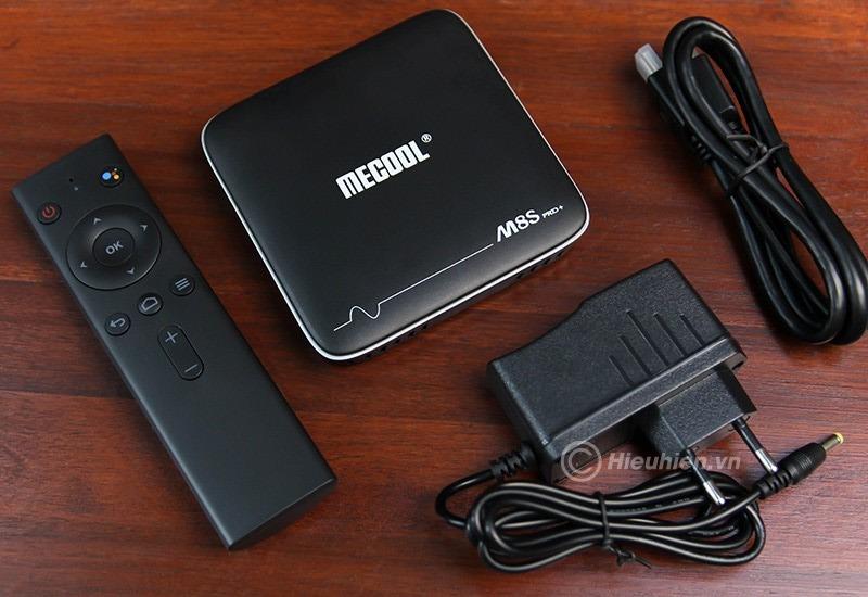 mecool m8s pro plus atv 7.1 s905w 2gb/16gb, có voice remote tìm kiếm bằng giọng nói - trọn bộ sản phẩm