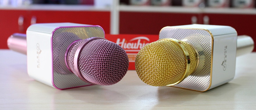 micgeek q9 micro kem loa 3 trong 1, q9 mic hat karaoke bluetooth cuc hay - mic q9 co 3 mau: vang, hong, den
