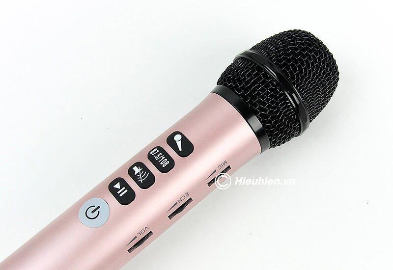 micro karaoke kèm loa bluetooth l-698 có kết nối fm với xe oto - đầu micro