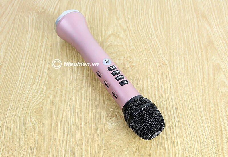 micro karaoke kèm loa bluetooth l-698 có kết nối fm với xe oto - màu hồng