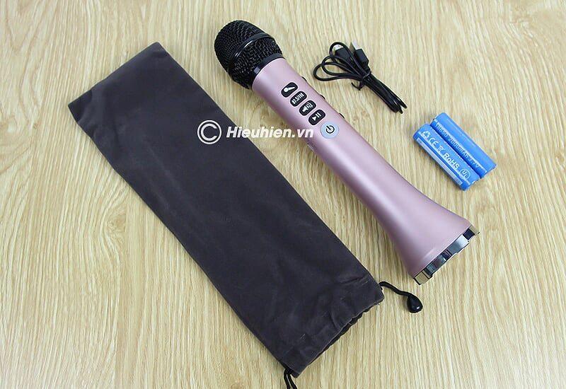 micro karaoke kèm loa bluetooth l-698 có kết nối fm với xe oto - phụ kiện