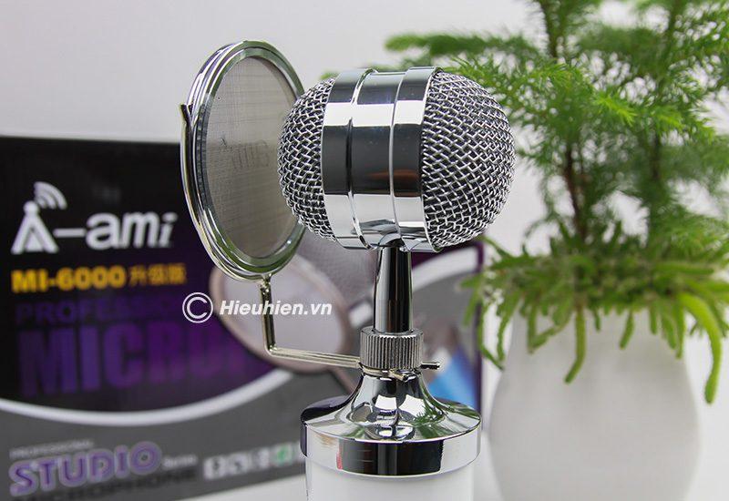 Micro thu âm AMI MI-6000 hát live stream, hát karaoke chất lượng tốt, giá rẻ - đầu micro