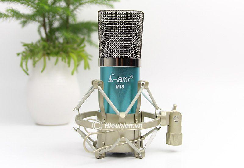 micro thu âm ami mi8 - mic hát karaoke, hát live stream nâng cấp mới - màu xanh