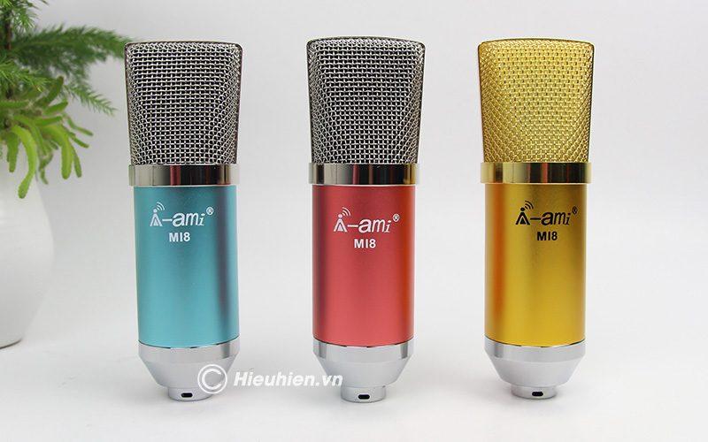 micro thu âm ami mi8 - mic hát karaoke, hát live stream nâng cấp mới - 3 màu