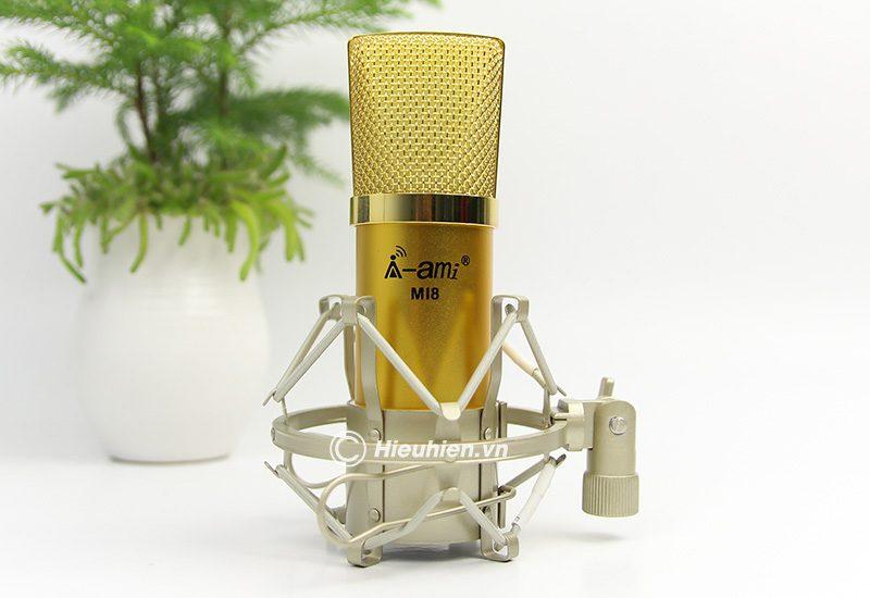 micro thu âm ami mi8 - mic hát karaoke, hát live stream nâng cấp mới - màu vàng