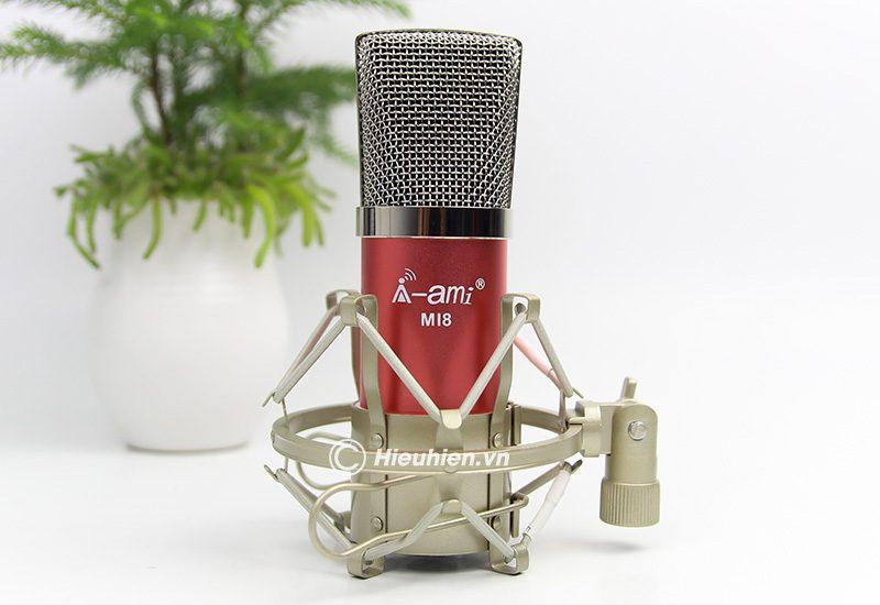 micro thu âm ami mi8 - mic hát karaoke, hát live stream nâng cấp mới - màu đỏ