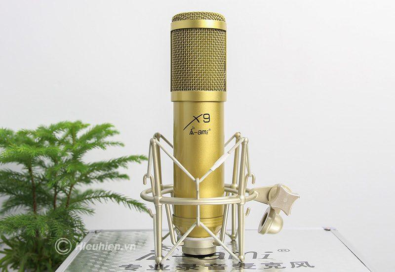 micro thu âm ami x9 hát live stream, hát karaoke chuyên nghiệp - màu vàng