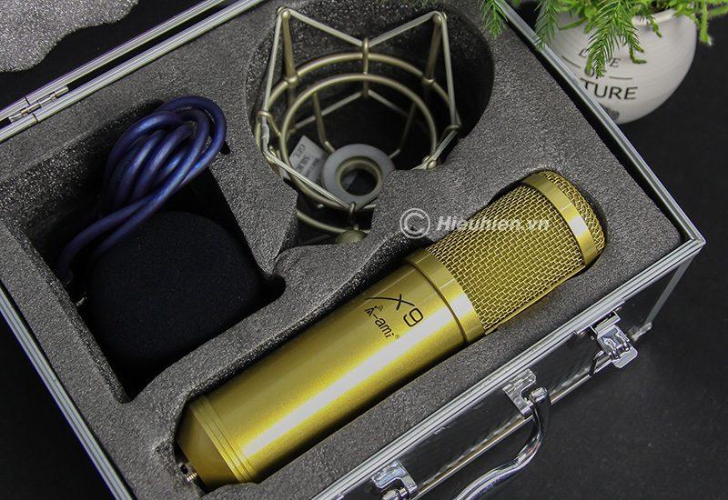micro thu âm ami x9 hát live stream, hát karaoke chuyên nghiệp - bộ sản phẩm màu vàng
