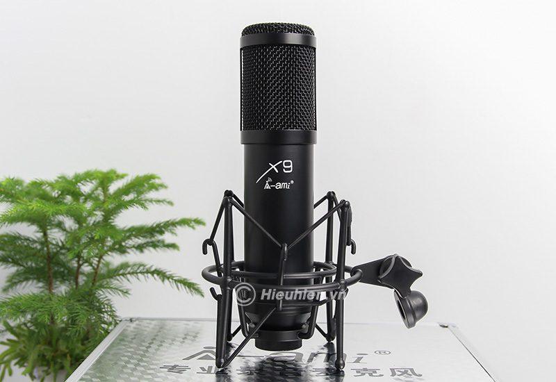 micro thu âm ami x9 hát live stream, hát karaoke chuyên nghiệp - màu đen