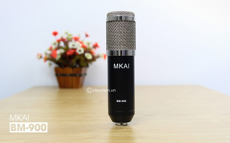 micro thu âm bm-900 mkai hát live stream, hát karaoke giá rẻ - mặt trước