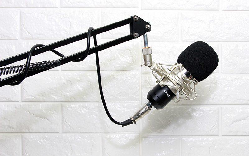 micro thu âm bm-900 woaichang - mic hát karaoke live stream - giá đỡ
