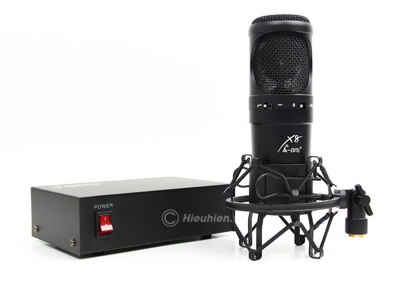 micro thu âm condenser ami x8 cao cấp, hát live stream chuyên nghiệp - nguồn 48v