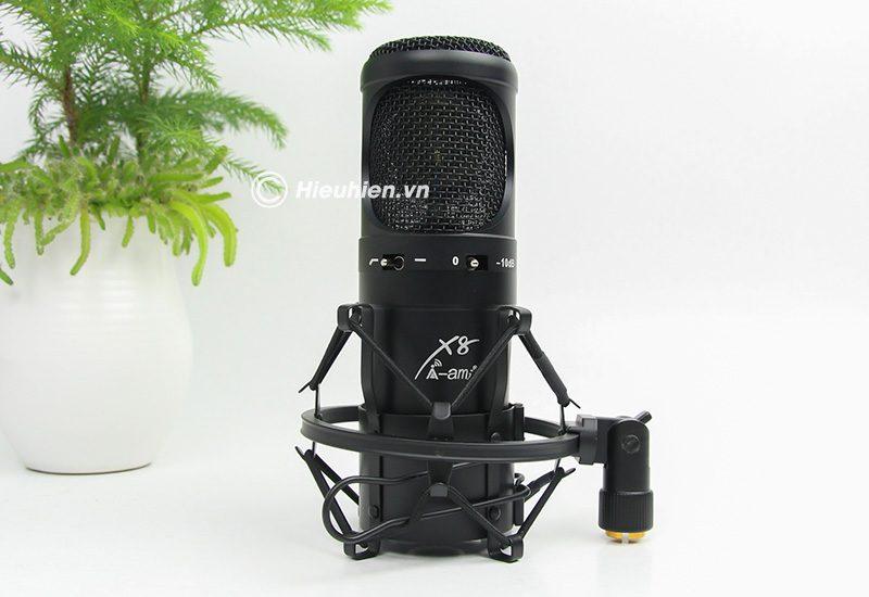 micro thu âm condenser ami x8 cao cấp, hát live stream chuyên nghiệp - màu đen