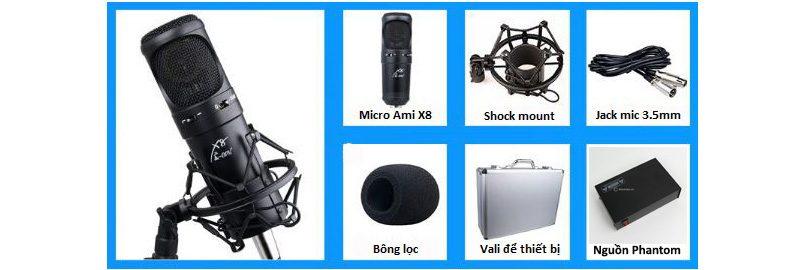 micro thu âm condenser ami x8 cao cấp, hát live stream chuyên nghiệp - mic và phụ kiện