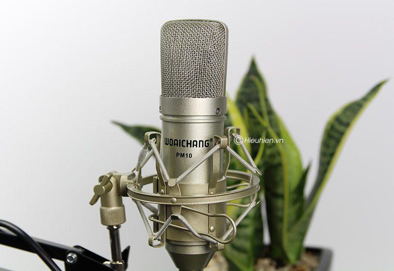 micro thu âm woaichang pm10 hát karaoke, hát live stream đầy hấp dẫn - mặt trước