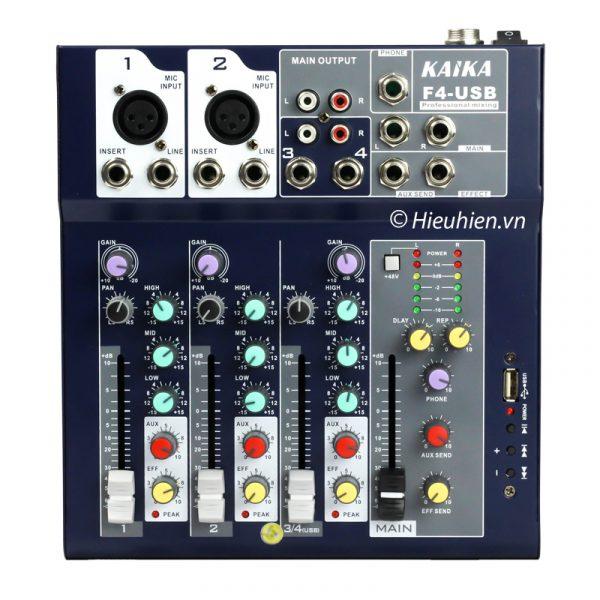 Mixer KAIKA F4-USB - Mixer thu âm, hát live stream, karaoke giá rẻ 0
