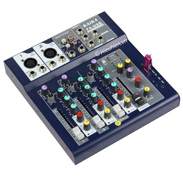 Mixer KAIKA F4-USB - Mixer thu âm, hát live stream, karaoke giá rẻ 04