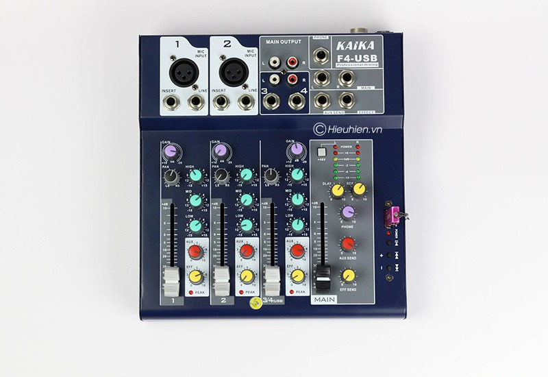 mixer thu am gia re kaika f4 usb - hat live stream, karaoke gia dinh 12