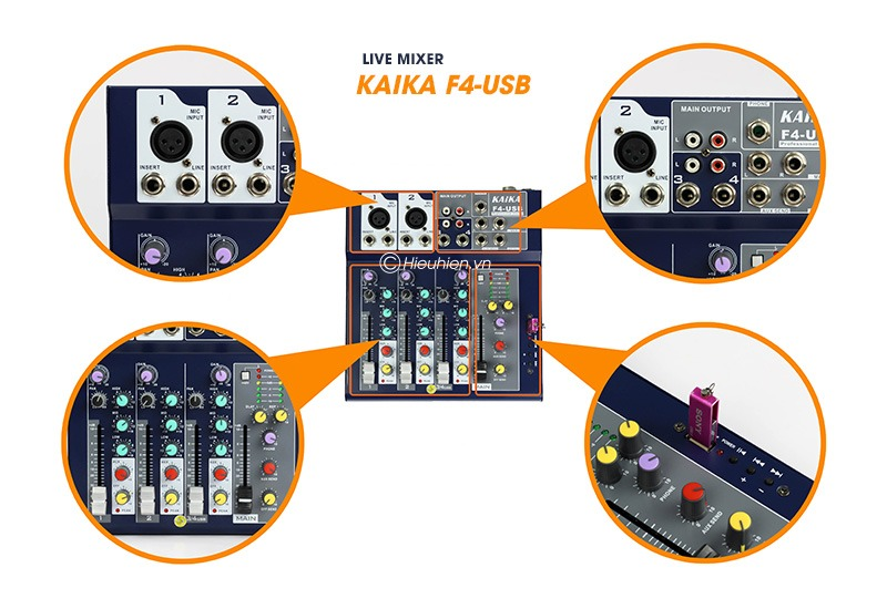 mixer thu am gia re kaika f4 usb - hat live stream, karaoke gia dinh 13