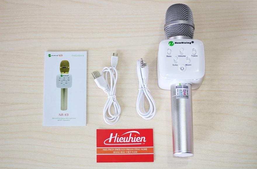mic kem loa new rixing k9 chinh hang, micro k9 hat karaoke bluetooth cuc hay 13
