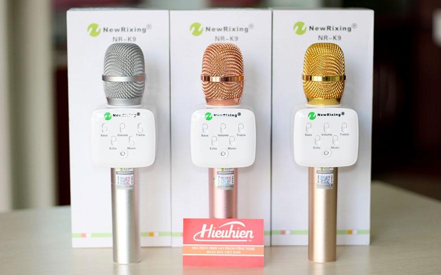 mic kem loa new rixing k9 chinh hang, micro k9 hat karaoke bluetooth cuc hay