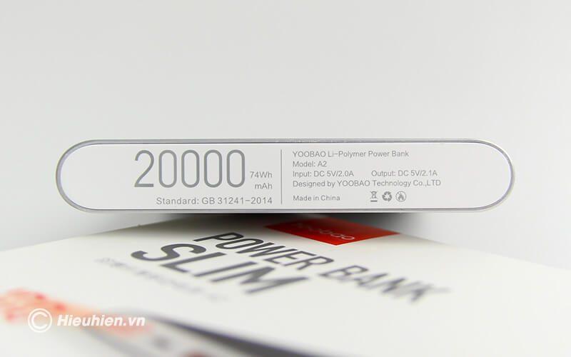 Pin sạc dự phòng 20000mAh Yoobao A2 siêu mỏng - dung lượng