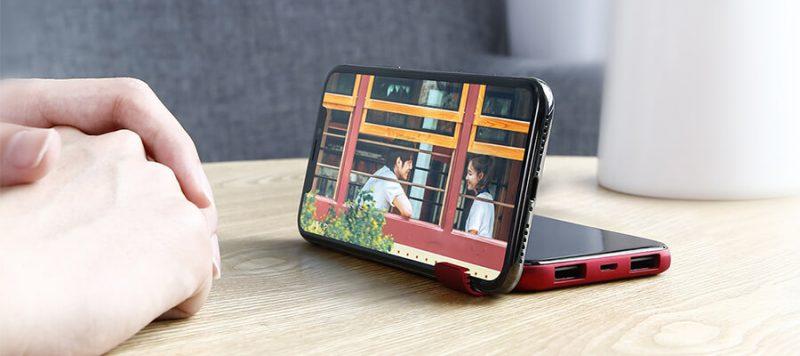 Pin Sạc Dự Phòng Không Dây 8000mAh Q2 Baseus LCD Qi Wireless Charger - giá đỡ