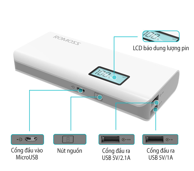 pin sac du phong romoss sense 4 plus 10400mah