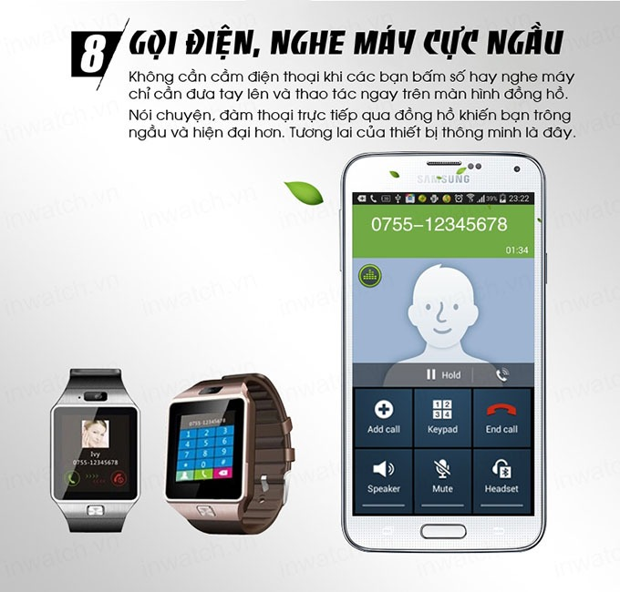 dong ho thong minh smartwatch inwatch c - goi dien, nghe may cuc ngau