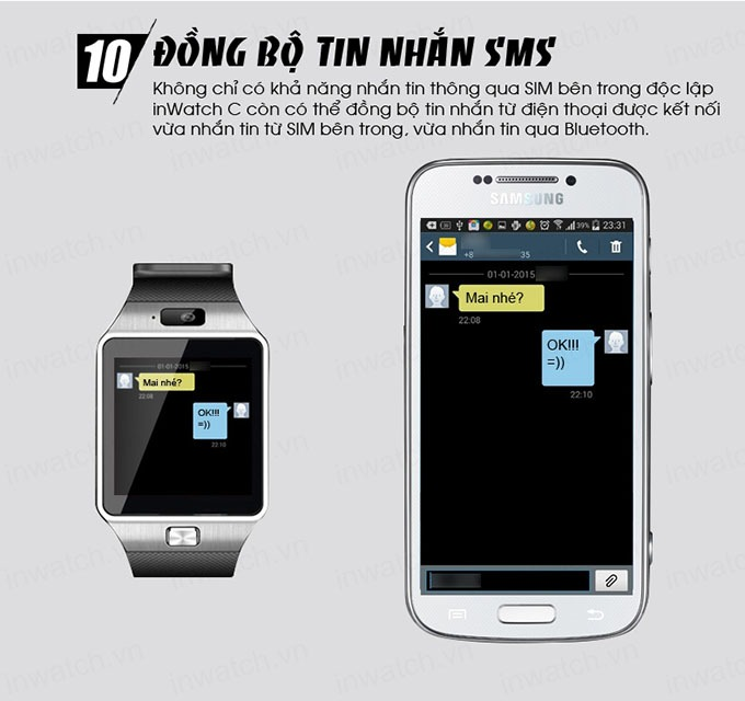 dong ho thong minh smartwatch inwatch c - dong bo tin nhan sms