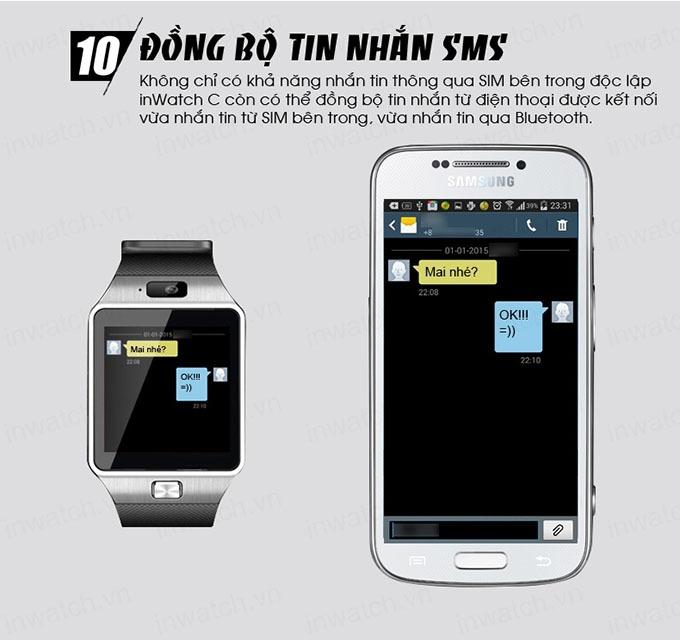 dong ho thong minh smartwatch inwatch c - dong bo tin nhan sms