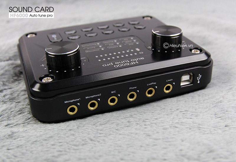 sound card hf6000 pro auto tune, hát karaoke live stream cực hay - cổng kết nối