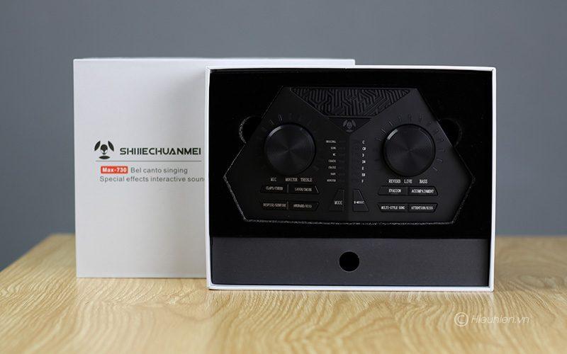 sound card max 730 - hát karaoke live stream, có auto-tune, pin sạc - full hộp