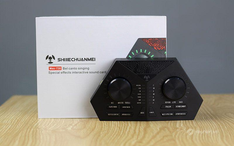 sound card max 730 - hát karaoke live stream, có auto-tune, pin sạc - bộ sản phẩm