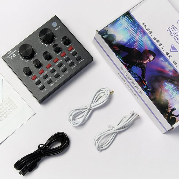 Sound Card Thu Âm V8, Card Âm Thanh Hát Karaoke, Live Stream 03