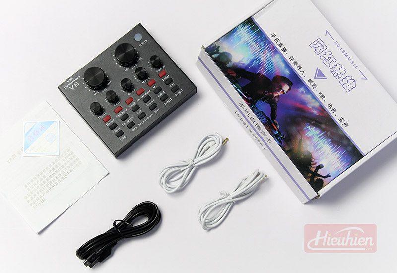 sound card thu âm v8, card âm thanh hát karaoke, live stream - dây phụ kiện