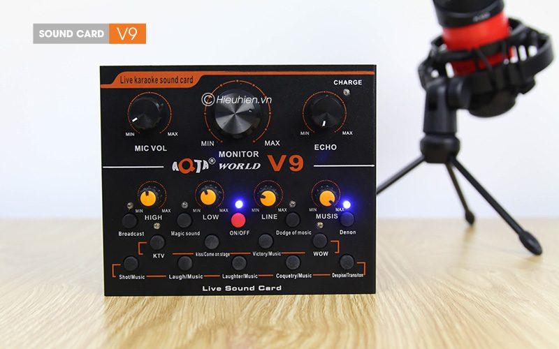 sound card thu âm v9 aqta bản tiếng anh có autotune, hát live stream, karaoke cực hay - phím