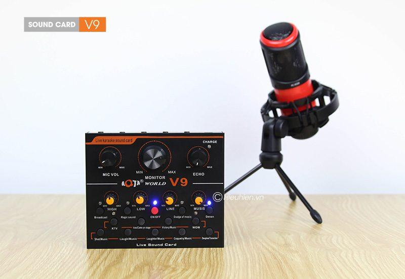 sound card thu âm v9 aqta bản tiếng anh có autotune, hát live stream, karaoke cực hay - điều chỉnh dễ dàng