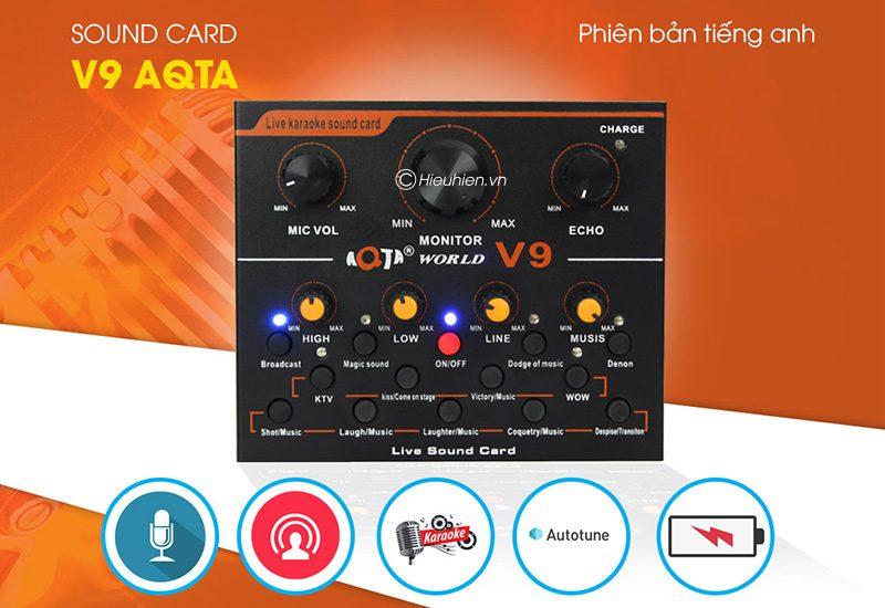 sound card thu âm v9 aqta bản tiếng anh có autotune, hát live stream, karaoke cực hay - tính năng