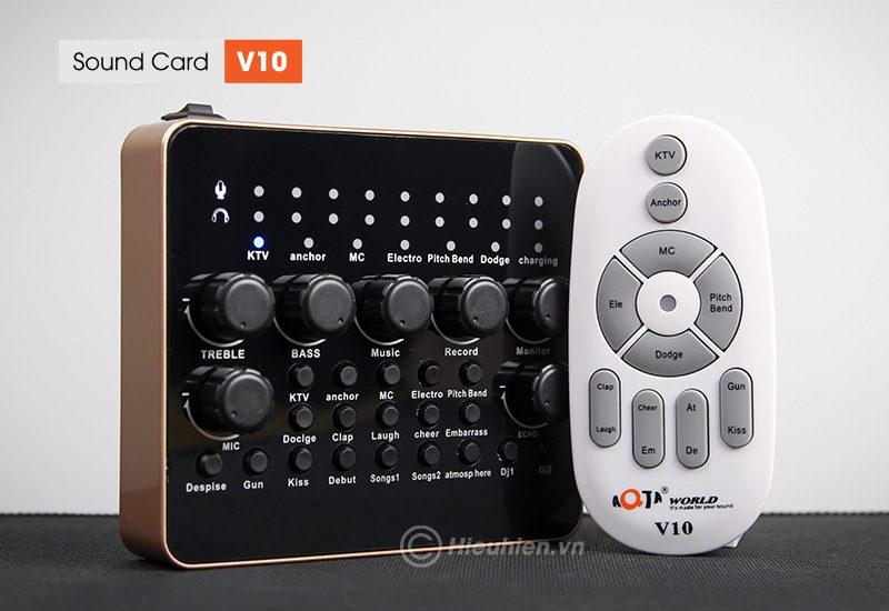 sound card v10 - thu âm hát live stream, hát karaoke cực hay - kèm remote