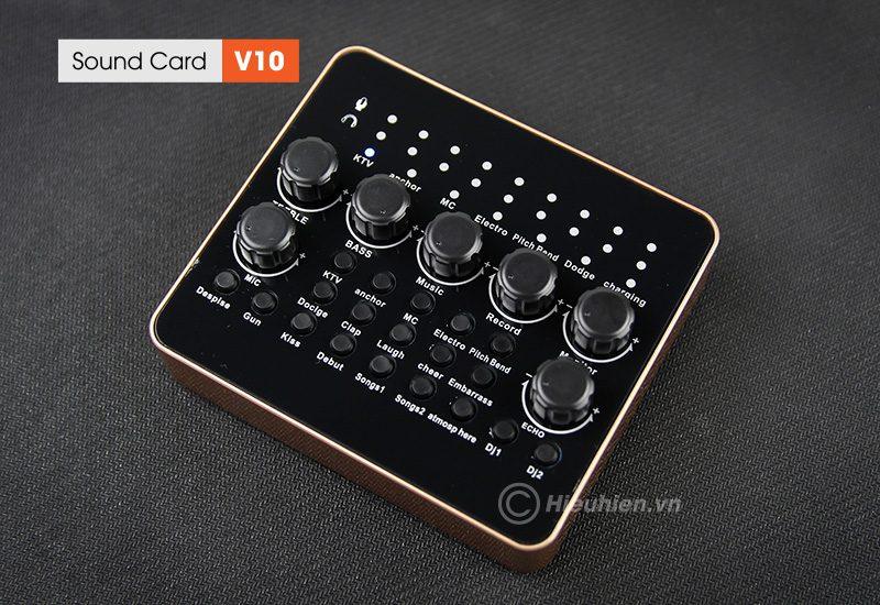 sound card v10 - thu âm hát live stream, hát karaoke cực hay - mặt trên