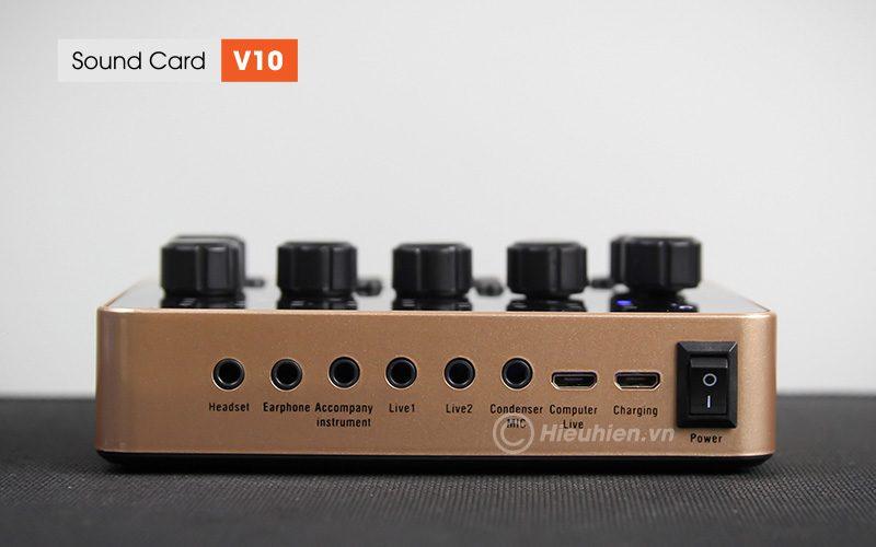 sound card v10 - thu âm hát live stream, hát karaoke cực hay - cổng kết nối