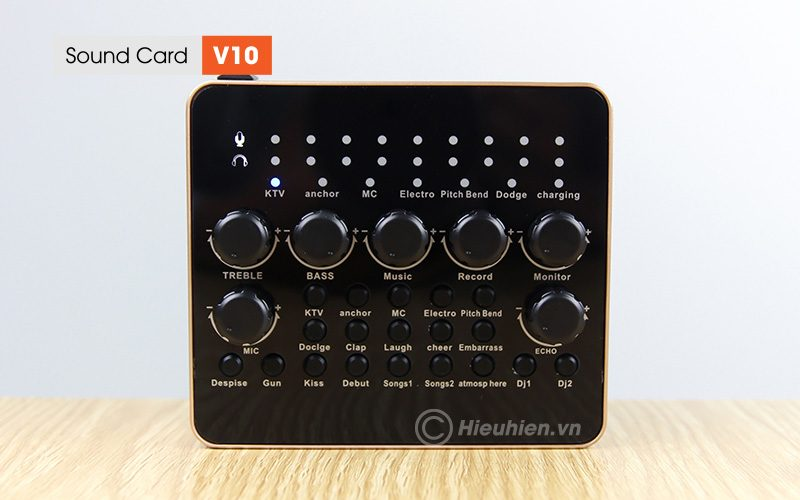sound card v10 - thu âm hát live stream, hát karaoke cực hay - mặt trước