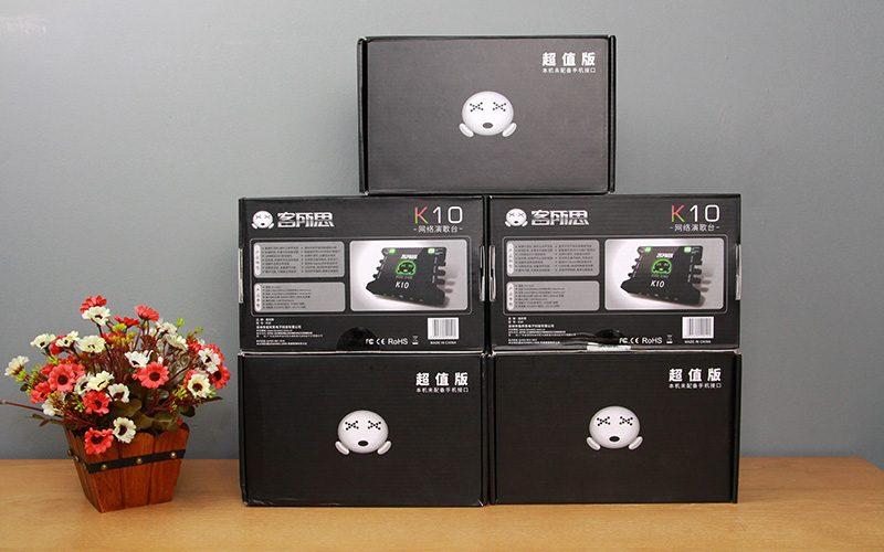 sound card xox k10 chuyên dùng hát karaoke, thu âm, hát livestream - mặt sau hộp