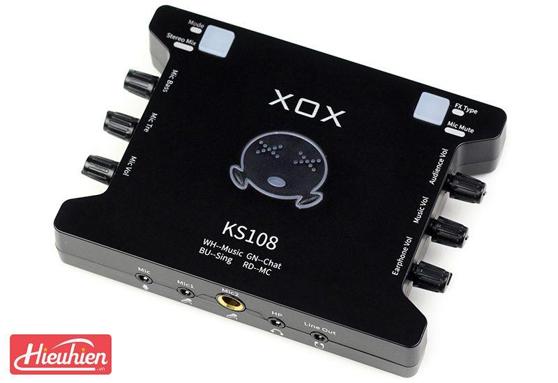sound card xox ks108 chuyên dùng cho thu âm, hát karaoke,livestream - mặt trên