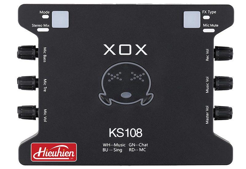 sound card xox ks108 chuyên dùng cho thu âm, hát karaoke,livestream - mặt trước