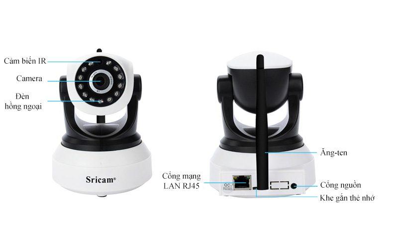 sricam sp017 - camera ip wifi thông minh, hỗ trợ thẻ nhớ 128gb - mặt sau