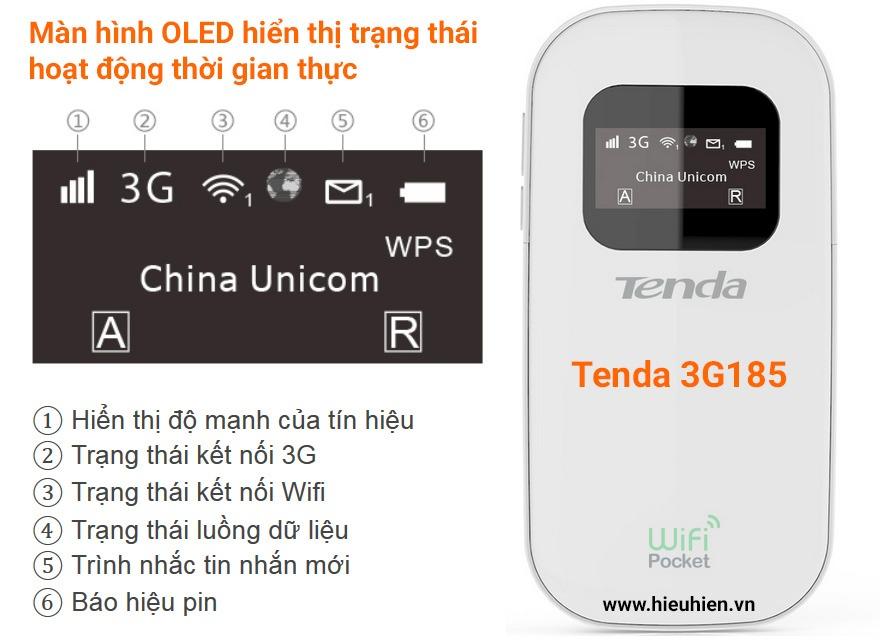 tenda 3g185 - bộ phát wifi di động từ sim 3g chính hãng, giá tốt - màn hình hiển thị