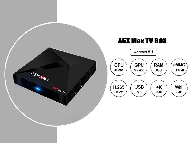 Phiên bản Android TV Box A5X Max cấu hình RAM 4GB/ ROM 32GB