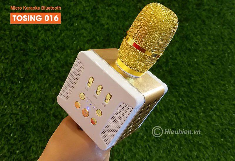 tosing 016 - micro karaoke kèm loa bluetooth công suất 20w, hát cực hay - đầu mic bọc lưới